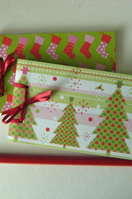 Mini Christmas Notebooks - Trees and Stockings - Ribbon Tied Handbound Books
