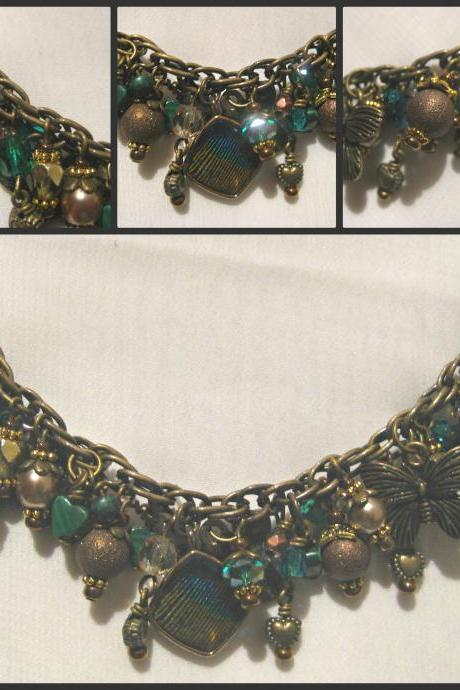 Genuine Malachite Teal Crystal and Bronze Antique Brass Charm Bracelet