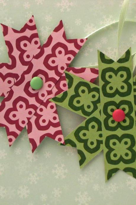 Two Hanging Christmas Decorations - Set of 2 Paper Stars, Pink and Green
