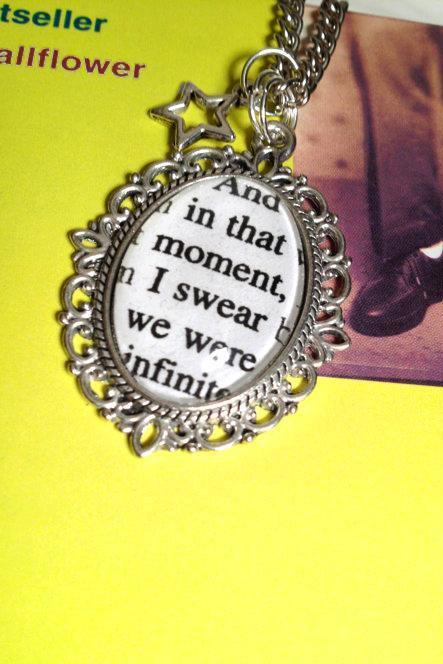 Perks of Being a Wallflower And in that moment, I swear we were infinite, Antiqued Bronze or Silver Customisable Book Page Necklace