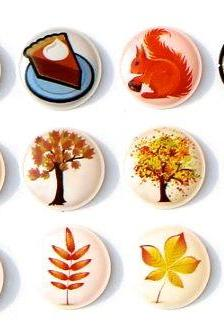 Autumn Fall Season - 12 Pcs Home Button iPhone iPad Decals Stickers 3D Semi-circular Bubble