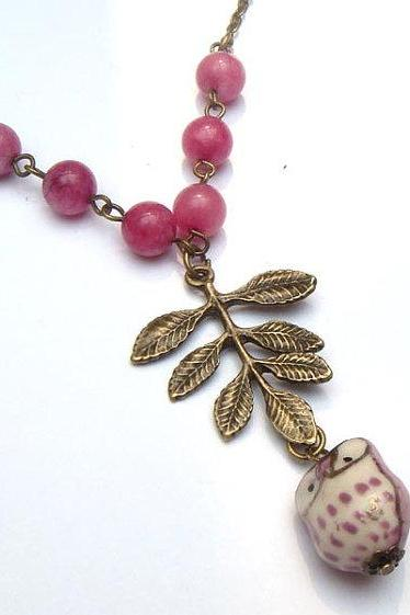 Antiqued Brass Leaf Purple Jade Porcelain Owl Necklace