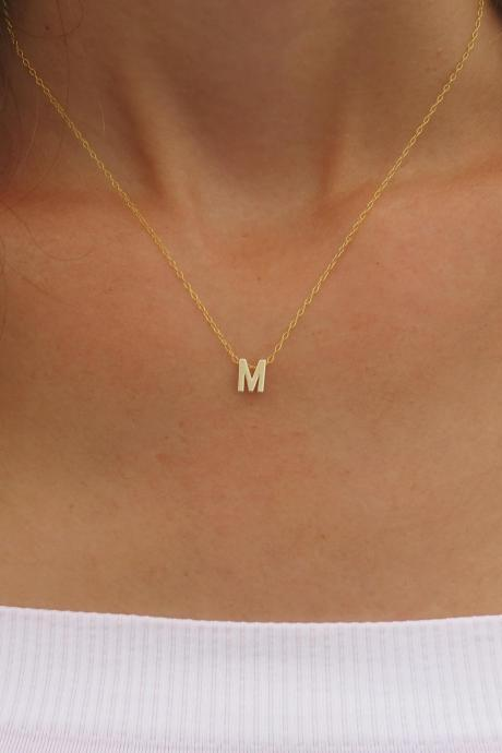 Goldfilled Initial Necklace - Gold Letter Necklace - Tiny Initial Necklace - Delicate Gold Necklace - Simple Gold Jewelry