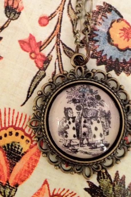 Alice in Wonderland Queen of Hearts's Playing Cards and Roses Antiqued Bronze Book Page Necklace