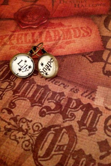 Lily and Snape Harry Potter Dangling or Post Antiqued Bronze Book Page Earrings J.K. Rowling