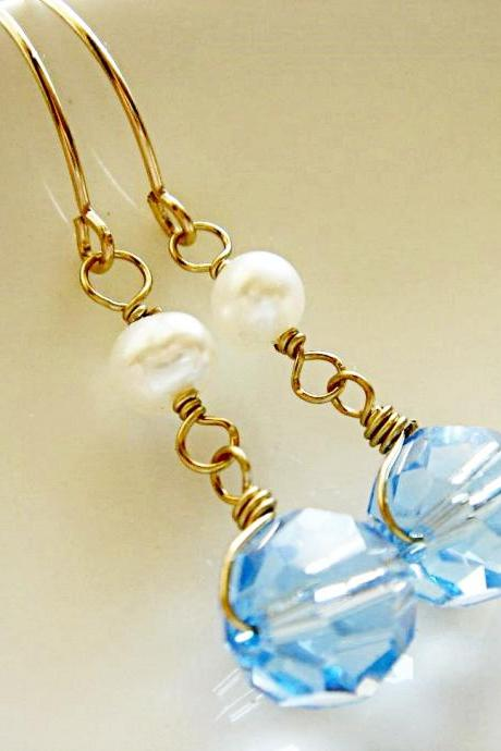 Something Blue Aquamarine Swarovski Crystal and Pearl 14k Gold Filled Earrings