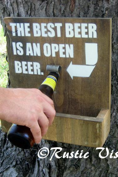 Wood Sign with Beer Bottle Opener and Cap Catch