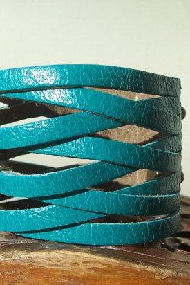 BraideTurquoise Leather Cuff Bracelet