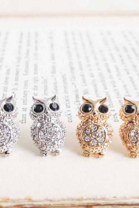 Crystals Owl stud earrings