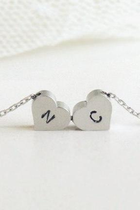 Personalized initial double heart necklace