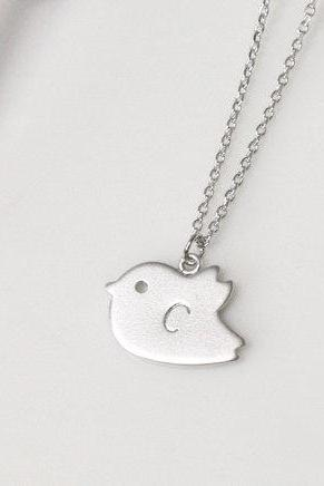 Personalized initial bird necklace