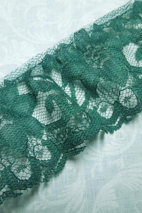 1 yard of 2 inch Emerald Green ruffled chantilly lace trim for holiday, christmas, st patricks, home decor by MarlenesAttic - Item R9