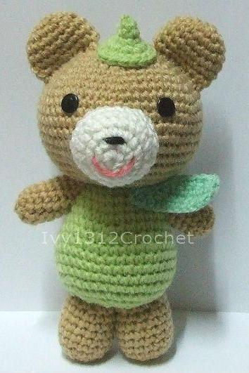 Green Leaf Teddy Bear - Finished Handmade Amigurumi crochet doll Home decor Birthday gift Baby shower toy