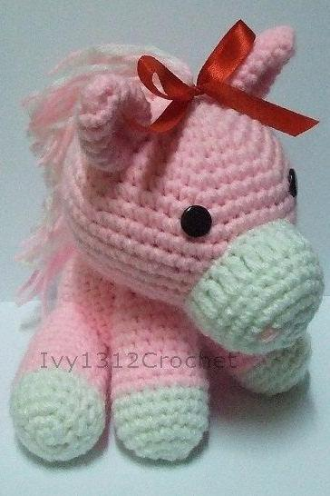 Ribbon Horse - Handmade Amigurumi crochet doll Home decor birthday gift Baby shower toy