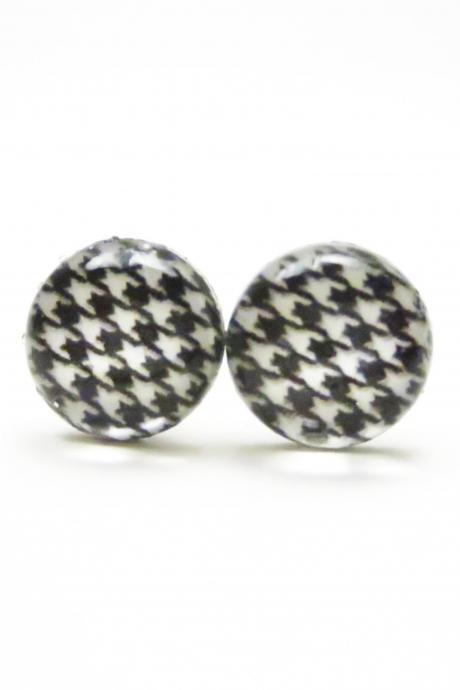 PAULA - Black and White Houndstooth Earrings