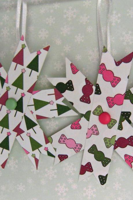 Two Hanging Christmas Decorations - Set of 2 Paper Stars, Pink and Green - Trees and Candy