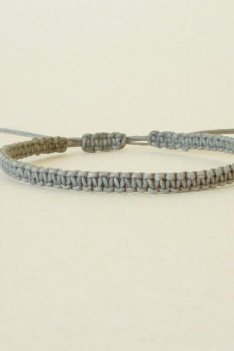 Simple Single Line Gray Friendship Bracelet / Wristband - Gift under 5 - Adjustable Bracelet