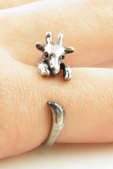 Silver Giraffe Animal Wrap Ring