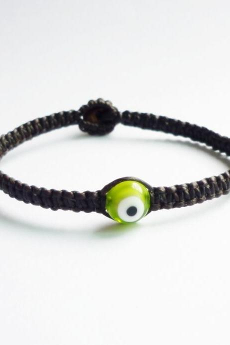 Flora Green Evil Eye with Black Wax Cord Friendship Bracelet - Gift under 10