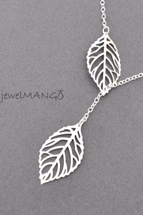 Lariat leaf necklace, leaves Necklace, leaf charm, Leaf Pendant, woodland, leaves, wedding, Everyday Jewelry