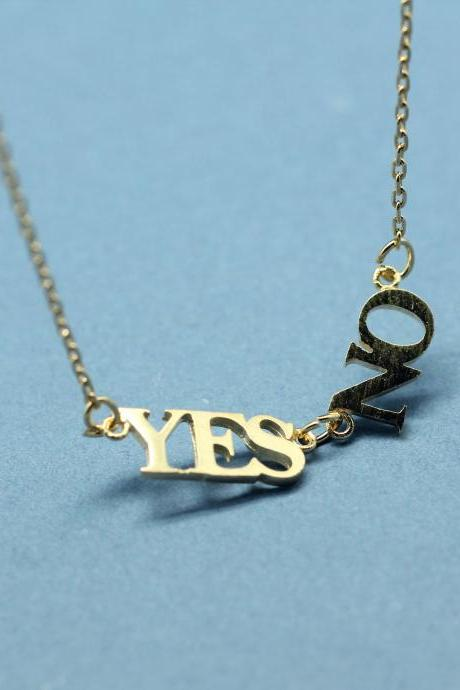 Yes and No pendant Necklace in Gold