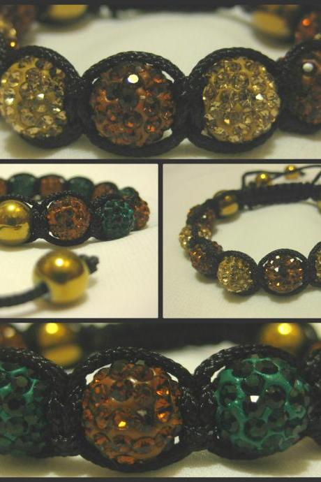 Two-Tone GOLD HAEMATITE RANGE Emerald Green or Champagne and Bronze Brown Crystal Pave Bead with Gold Haematite Macrame Friendship Bracelet