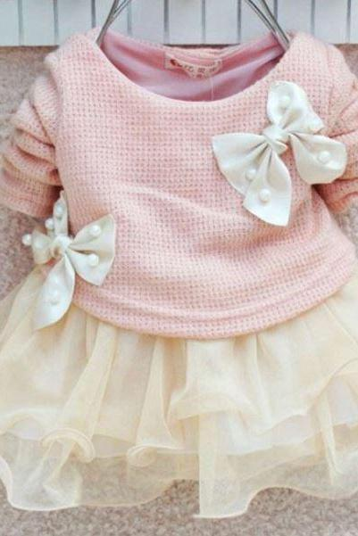 Pink Newborn Tutu Dress with Bows - READY TO SHIP Pink Dresses-12-24 Months Dress- NOW SALE READY TO SHIP GIRLS DRESSES