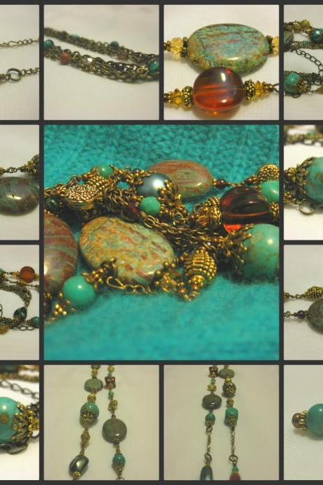 Antique Brass, Turquoise and Jasper Multi Chain Necklace with Various Genuine Gemstones