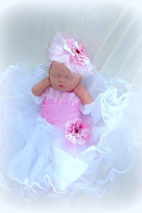 Baby Girl Photo Prop Dress and headband set 0 to 12 Months