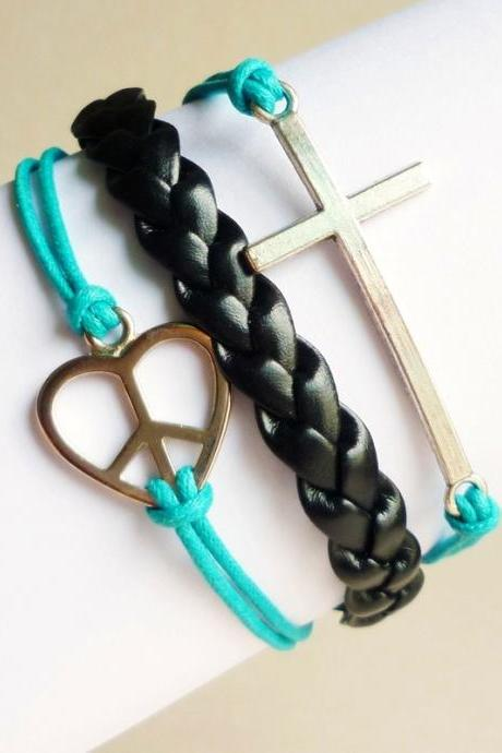 Silver Tone Sideways cross and Love Peace Sign and Blue Friendship Bracelet - Gift under 15