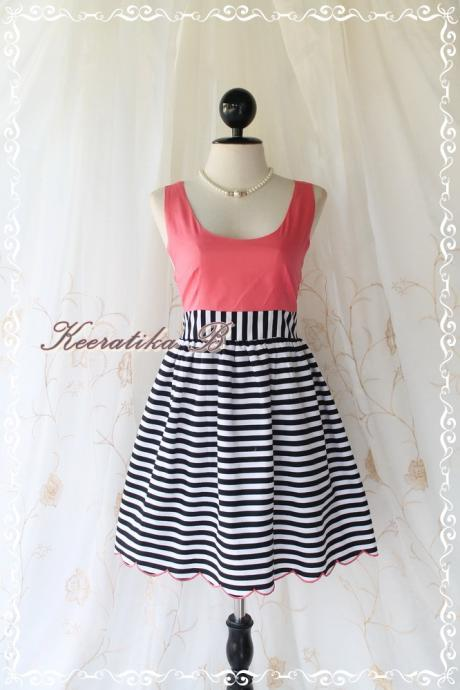 Jazzie III - Sweet Cutie Spring Summer Sundress Peachy Top With Black Stripe Skirt Scallop Hem Party Dinner Dancing Dress