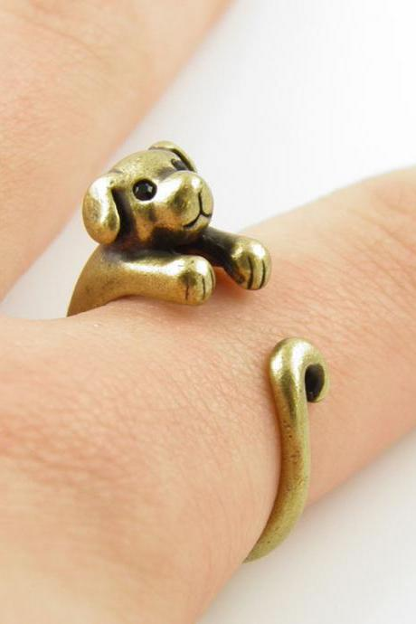 Puppy Animal Wrap Ring - Gold