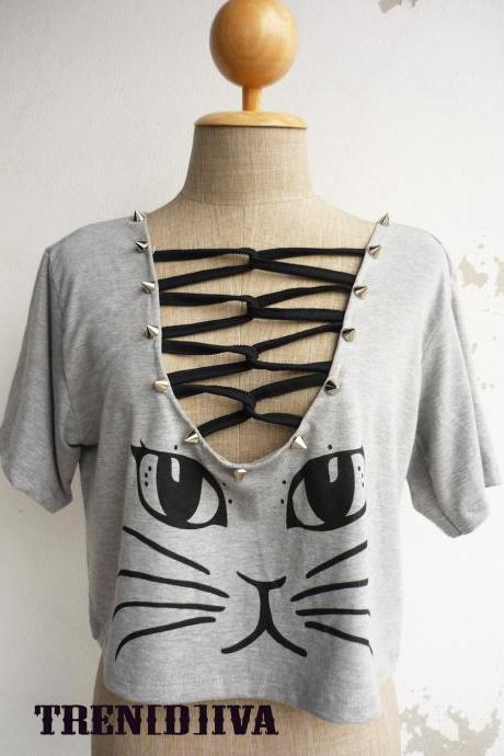 The Cat Women Cool Stud T-Shirt (Gray)
