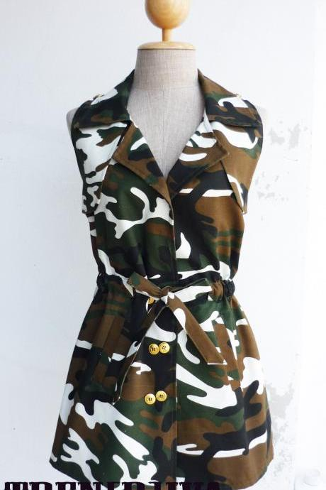 Cool Military Girl Tunic Shirt No.1 Free Size
