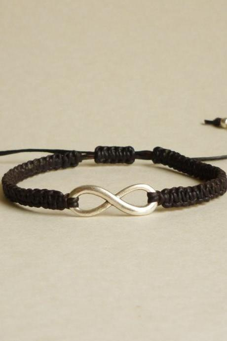 Silver Plated Infinity Black Friendship Bracelet with Adjustable Style - Gift for Him - Gift under 15 - Unisex