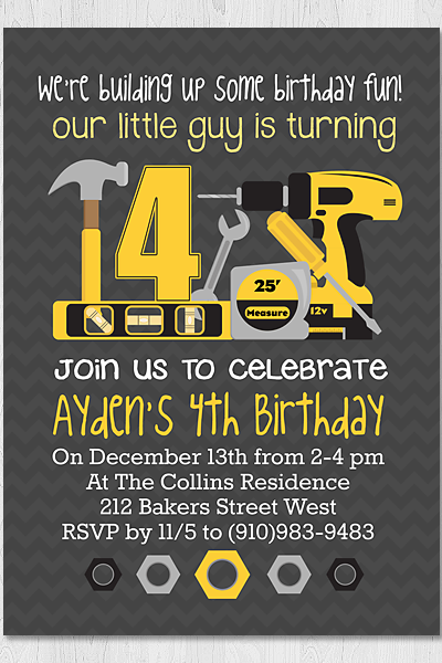Printable 5x7 Boys Construction/Tools Birthday Invitation