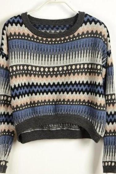 Loose Blue Tribe Sweater