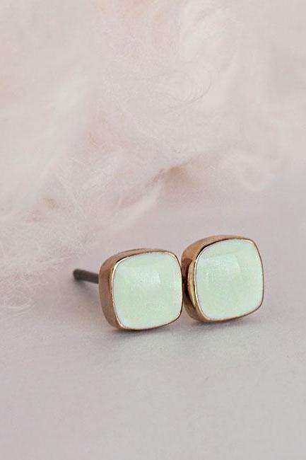 Mini Square Seafoam Stud Earrings, Light Mint Green Minimalist Everyday Ear Posts