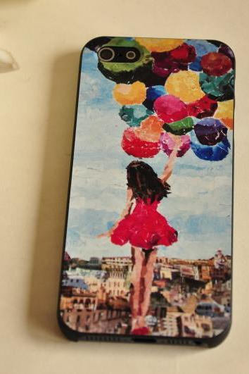 Girl with colorful balloons Print iPhone 4 Case