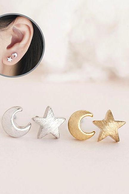 Tiny Moon Star Stud Earrings, Gold or Silver, Astronomy Nebulae Galaxies Inspired Jewelry