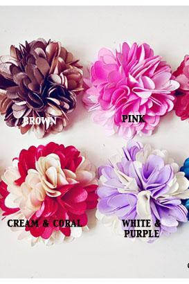 2 Mixed Color Satin Fluffy flowers