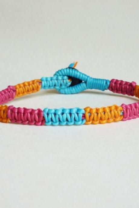 Colorful Macrame Friendship Bracelet in mix of Magenta Pink,Orange,Blue - Gift for Her - Gift under 10