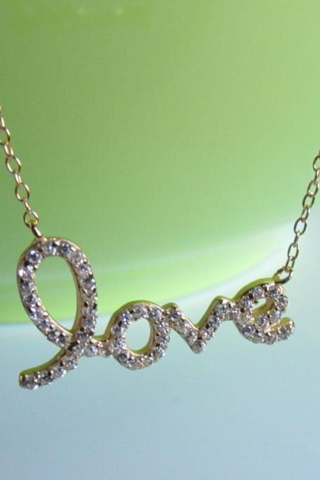 "Script Letter Love Necklace-14 Kt Gold Over 925 Sterling Silver On 16""+2"" Cable Chain"