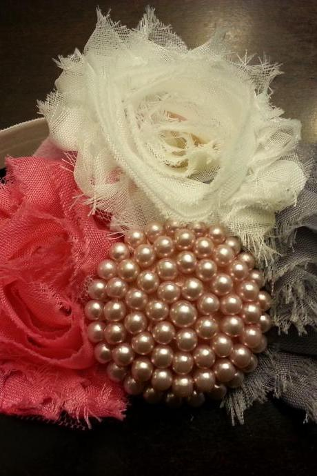 Mauve, grey and ivory with pearl button and elastic band