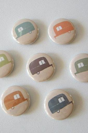 Magnets Airstream Trailer 7/Seven 1 inch round green blue orange brown redtilestudio
