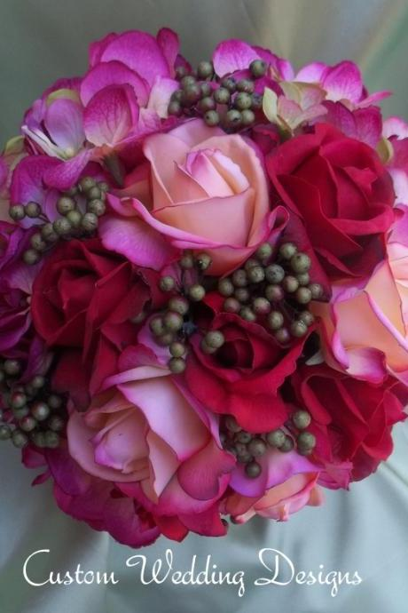 Beautiful Round Fall Wedding Bouquet. Real Touch Red and Coral/ Orange Roses, Variegated Magenta Hydrangeas and Eva Berries.