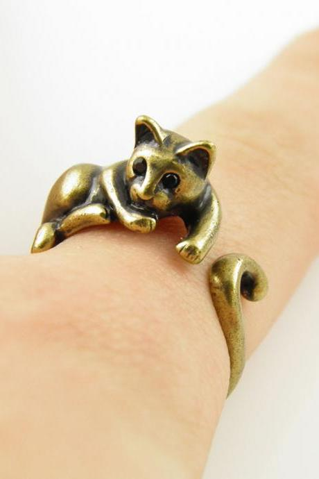 Lazy Cat Animal Wrap Ring - Gold