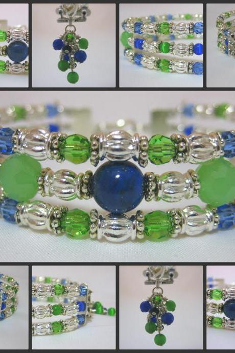 Genuine Lapis Lazuli and Chrysolite Crystal Silver Cuff Bracelet