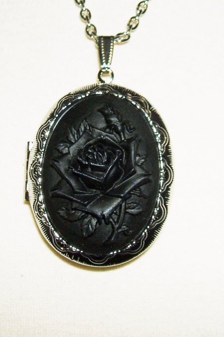 BLACK ROSE Cameo Necklace Locket Pendant Victorian MOURNING Goth Design