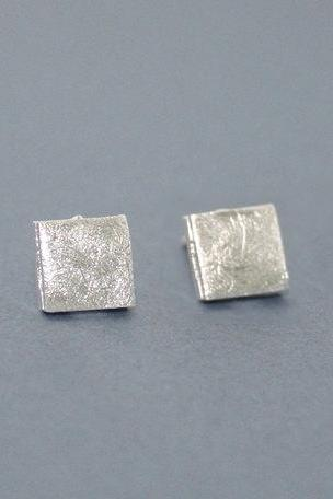 Tiny textured square earring in silver